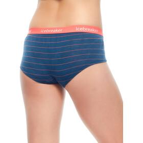Icebreaker Sprite Hot Pants Women prussian blue/poppy red/stripe